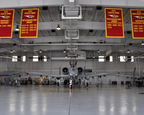 "The 442d Maintenance Group at Whiteman Air Force Base, Mo., proudly display their litany of awards in the ""5-Bay,"" their primary maintenance hanger. 442d maintainers have, in one form or another, won the Maintenance Effectiveness Award (Medium Category) at the Major Command level three years running."