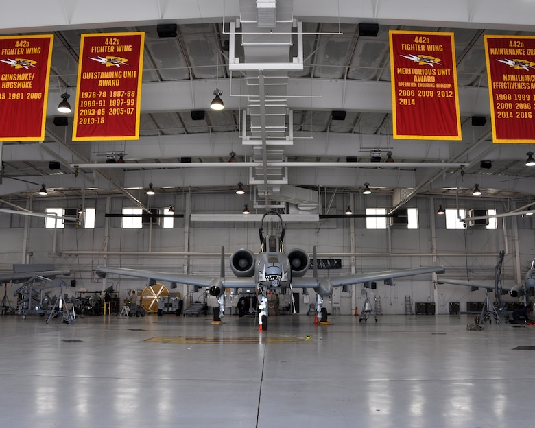 """The 442d Maintenance Group at Whiteman Air Force Base, Mo., proudly display their litany of awards in the """"5-Bay,"""" their primary maintenance hanger. 442d maintainers have, in one form or another, won the Maintenance Effectiveness Award (Medium Category) at the Major Command level three years running."""