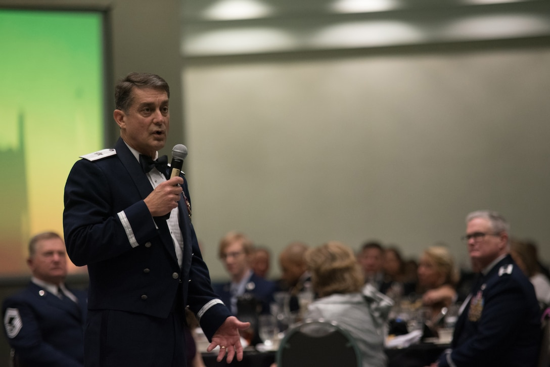 Brig. Gen. Warren Hurst, Kentucky's Assistant Adjutant General for Air, spoke at the annual Kentucky Outstanding Soldier and Airman of the Year banquet at the Kentucky Fair and Exposition Center, Louisville, Ky. on March 4, 2017. The winners were selected for their leadership and performance in their primary duties, dedication to self-improvement, and base and community involvement. (U.S. Air National Guard photo by Staff Sgt. Joshua Horton)