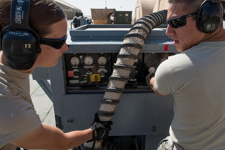 Staff Sgt. Adan Nunez and Senior Airman Melissa Jones, both 332nd Expeditionary Maintenance Group aerospace ground equipment specialists, inspect an A/M32A-60A generator, commonly referred to as a Dash 60, at the 407th Air Expeditionary Group, Feb. 27, 2017. The Dash 60 is used to provide auxiliary power to transient aircraft delivering supplies and personnel to the base. (U.S. Air Force photo/Master Sgt. Benjamin Wilson)(Released)