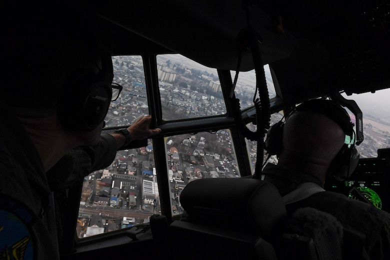 Col. Kenneth Moss, 374th Airlift Wing commander, approaches for a landing at Yokota Air Base, Japan, March 6, 2017. This is the first C-130J to be assigned to Pacific Air Forces. Yokota serves as the primary Western Pacific airlift hub for U.S. Air Force peacetime and contingency operations. Missions include tactical air land, airdrop, aeromedical evacuation, special operations and distinguished visitor airlift. (U.S. Air Force photo by Staff Sgt. Michael Smith)