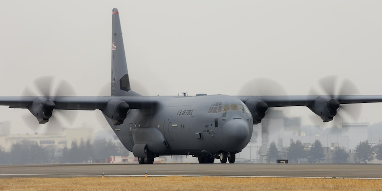 A C-130J Super Hercules taxies down a runway at Yokota Air Base, Japan, March 6, 2017. This is the first C-130J to be assigned to Pacific Air Forces. Yokota serves as the primary Western Pacific airlift hub for U.S. Air Force peacetime and contingency operations. Missions include tactical air land, airdrop, aeromedical evacuation, special operations and distinguished visitor airlift. (U.S. Air Force photo by Yasuo Osakabe)