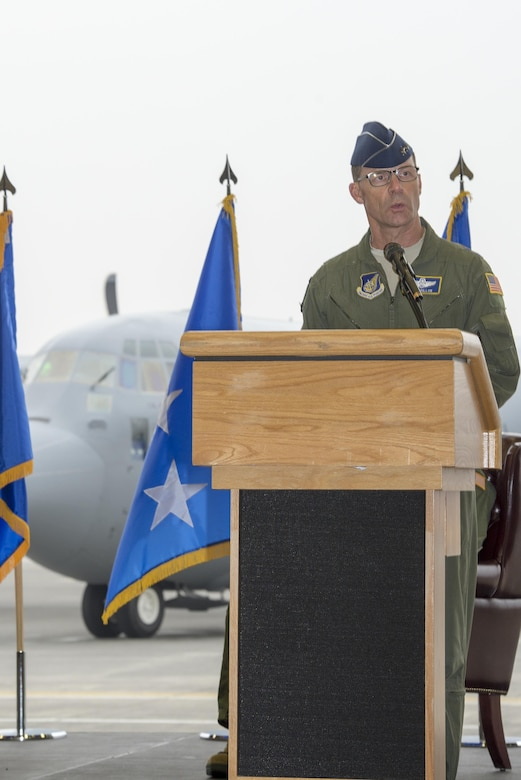 Maj. Gen. Mark Dillon, Pacific Air Forces vice-commander, gives a speech during a ceremony held to celebrate the arrival of the first C-130J Super Hercules assigned to Yokota Air Base, Japan, Mar. 6, 2017. The aircraft provides significant performance improvements and added operational capabilities that translate directly into increased effectiveness. (U.S. Air Force photo by Senior Airman David C. Danford)