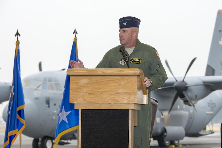 Col. Kenneth Moss, 374th Airlift Wing commander, gives closing remarks during a ceremony held to celebrate the arrival of the first C-130J Super Hercules assigned to Yokota Air Base, Japan, Mar. 6, 2017. The C-130Js will be used to support critical peacekeeping and contingency operations throughout the Indo-Asia Pacific region, including cargo delivery, troop transport, airdrop and aeromedical missions. (U.S. Air Force photo by Senior Airman David C. Danford)