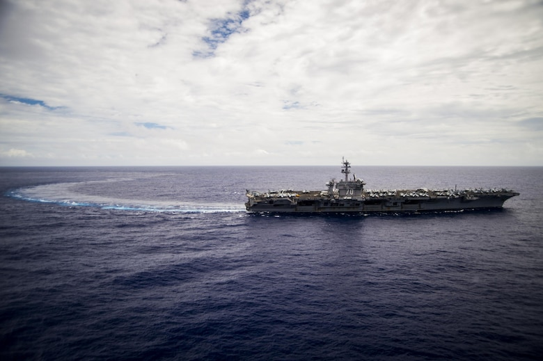 The U.S. Navy aircraft carrier USS Carl Vinson (CVN 70) transits the Pacific Ocean Feb. 9, 2017. The ship's carrier strike group is on a western Pacific deployment as part of the U.S. Pacific Fleet-led initiative to extend the command and control functions of U.S. 3rd Fleet. (U.S. Navy photo by Mass Communication Specialist 2nd Class Zackary Alan Landers/Released)