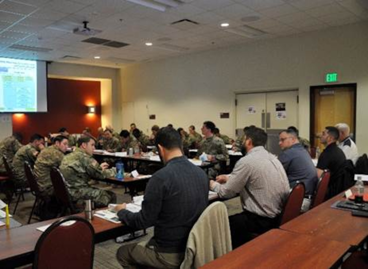USCENTCOM staff provide training to civil affairs personnel deploying to the USCENTCOM Area of Responsibility. Participants received detailed instruction on policy and processes, as well as performing a hands-on exercise simulating a real-world scenario. (Courtesy photo)