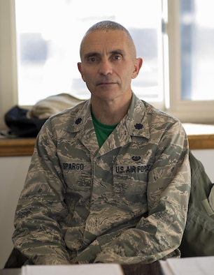 Lt. Col. Michael Spargo, Staff Judge Advocate, 914th Airlift Wing, seated in his office, March 4, 2017, Niagara Falls Air Reserve Station, N.Y. Spargo has a unique military service history, having served in the South African Navy and the U.S. Marine Corps, Now serving as a traditional reservist in the U.S. Air Force (U.S. Air Force photo by Tech. Sgt. Stephanie Sawyer)