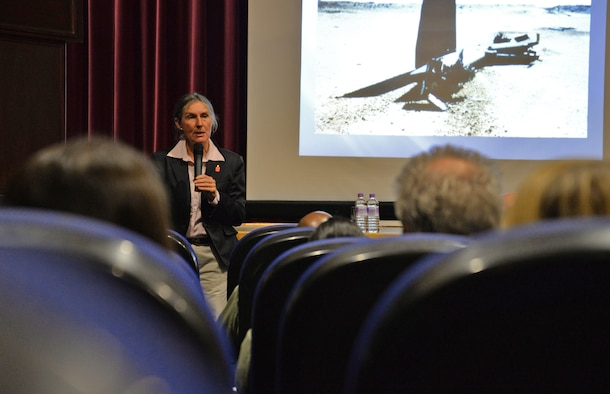 Retired Army Brig. Gen. Rhonda Cornum shares her personal story about being captured during the Persian Gulf War, March 2, 2017, at the base theater on Royal Air Force Mildenhall, England. Cornum spoke about injuries she sustained from a helicopter crash during the war and about her subsequent capture by Iraqi soldiers who held her as a prisoner of war. She described how her resiliency and positive thoughts got her through the ordeal when she returned home. (U.S. Air Force photo/Senior Airman Christine Halan)