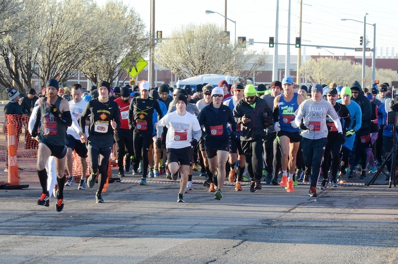 Approximately 200 5K participants and 90 half marathoners braved the chilly temps the morning of Feb. 25 to run in Tinker's 75th Anniversary Half Marathon and 5K. (Air Force photo by Kelly White)