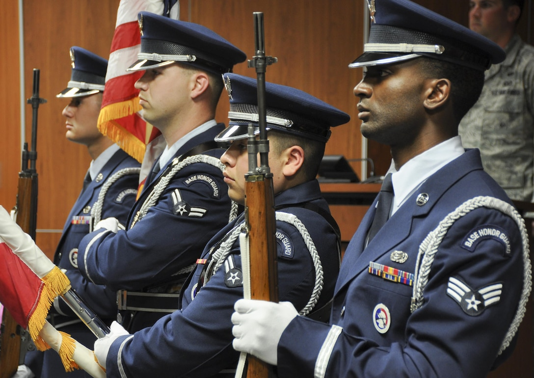 The Eglin Air Force Base Honor Guard presents the colors during  the 919th Special Operations Support Squadron change of command ceremony March 3 at Duke Field, Fla.  Lt. Col. Dustin Hiers, took command of the squadron at the ceremony.  (U.S. Air Force photo/Dan Neely)