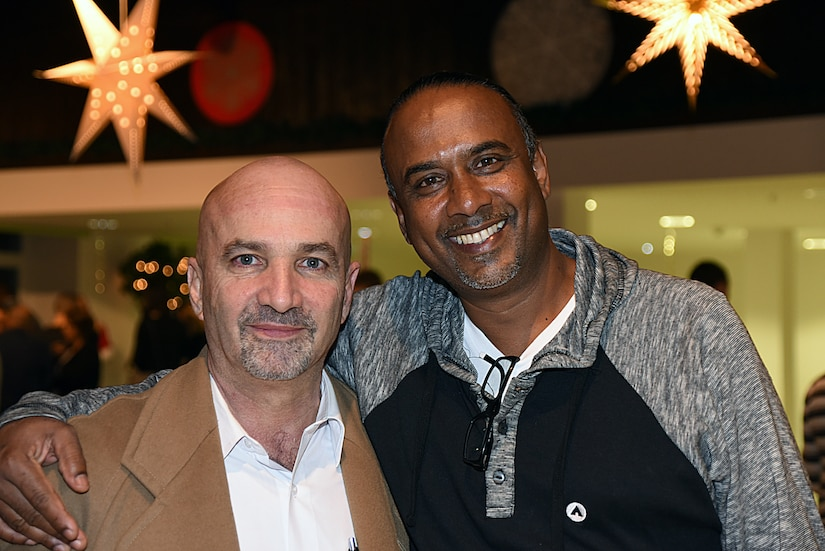 Mariano Figueres Olsen, left, director of Costa Rica's national intelligence agency and tactical unit and the secretary of the country's national security council, and Inspector George Laldeo, chief of operations at the transnational organized crime unit in Trinidad and Tobago, enjoy the alumni mini-culture night held Feb. 22, 2017, during the Global Countering Transnational Organized Alumni Community of Interest Workshop at the George C. Marshall European Center for Security Studies in Garmisch-Partenkirchen, Germany. Marshall Center photo by Christine June