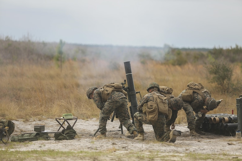 Marines with Task Force Southwest fire an 81mm mortar during a full mission rehearsal at Camp Lejeune, N.C., March 2, 2017. The week-long training event allowed Marines with the unit to enhance their advisory and combat skills in preparation for an upcoming deployment to Helmand Province, Afghanistan. Task Force Southwest is comprised of approximately 300 Marines, whose mission will be to train, advise and assist the Afghan National Army 215th Corps and 505th Zone National Police. (U.S. Marine Corps photo by Sgt. Lucas Hopkins)