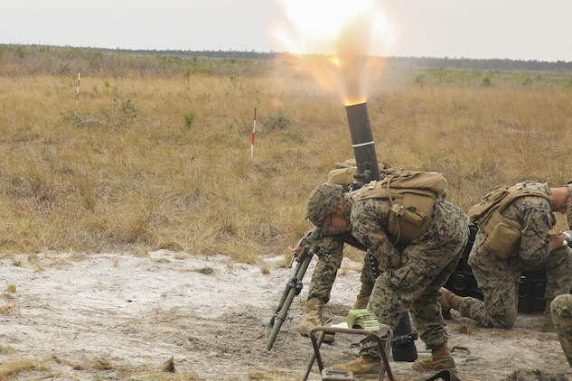 Marines with Task Force Southwest fire an 81mm mortar during a full mission rehearsal at Camp Lejeune, N.C., March 2, 2017. The week-long rehearsal consisted of advisory meetings with Afghan role players, medical drills and combat scenarios to prepare the unit for an upcoming deployment to Helmand Province, Afghanistan. Task Force Southwest is comprised of approximately 300 Marines, whose mission will be to train, advise and assist the Afghan National Army 215th Corps and 505th Zone National Police. (U.S. Marine Corps photo by Sgt. Lucas Hopkins)