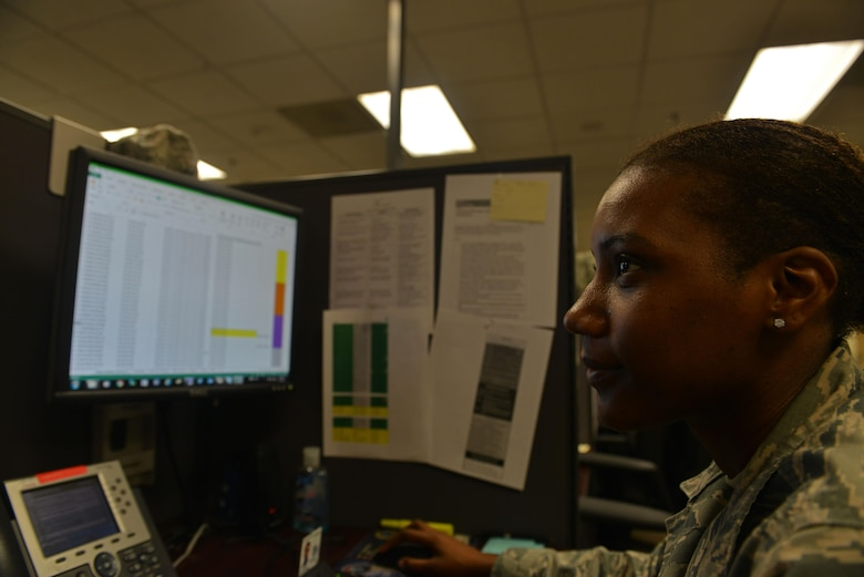 U.S. Air Force Airman 1st Class Shayna Blackmon, 20th Communications Squadron client systems technician, searches for vulnerabilities in the network at Shaw Air Force Base, S.C., March 2, 2017. The 20th CS client service center receives a daily list of 100 devices with the most vulnerabilities and then performs necessary tasks to protect those devices. (U.S. Air Force photo by Airman 1st Class Destinee Sweeney)