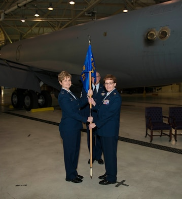 Col. Dorneen W. Shipp, 914th Maintenance Group commander, passes the 914th Aircraft Maintenance Squadron flag to Maj. Amy S. Johannsen who assumes command of the squadron, March 5, 2017, Niagara Falls Air Reserve Station, N.Y. (U. S. Air Force photo by Tech. Sgt. Stephanie Sawyer)