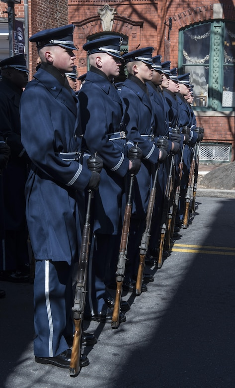 The U.S. Air Force Honor Guard stands in formation prior to marching in the 2017 Saint Patrick's Day Parade in Alexandria, Va., March 4, 2017. The group marched alongside the Army, Navy, Coast Guard and Marine honor guards for the half-mile-long parade. (U.S. Air Force photo by Senior Airman Jordyn Fetter)