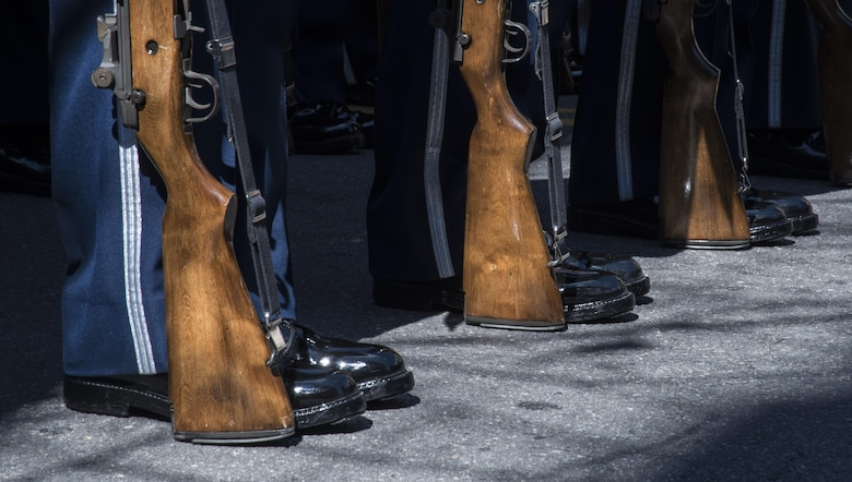 The U.S. Air Force Honor Guard lines up at attention prior to the 2017 Saint Patrick's Day Parade in Alexandria, Va., March 4, 2017. In addition to the appearance of all the military service's honor guards, the event also hosted a car show, dog show and musical performances. (U.S. Air Force photo by Senior Airman Jordyn Fetter)