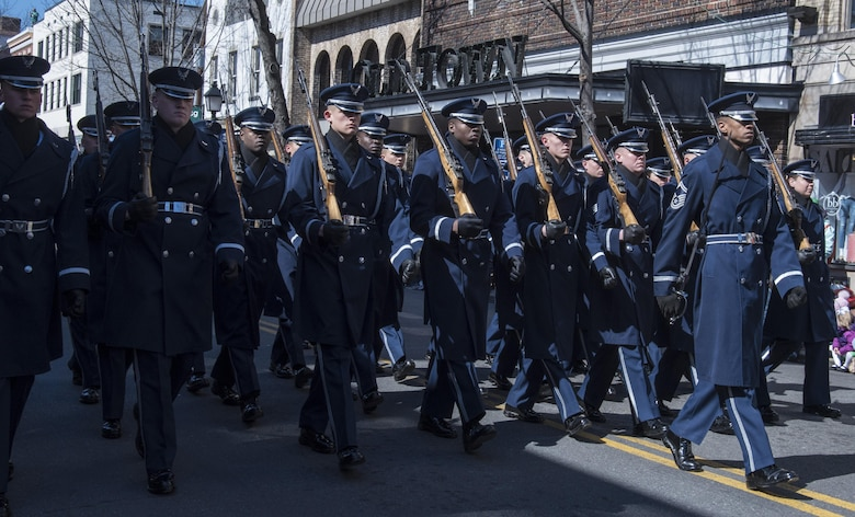 The U.S. Air Force Honor Guard marches in the 2017 Saint Patrick's Day Parade in Alexandria, Va., March 4, 2017. The flight was composed of approximately 25 Airmen who serve to promote the Air Force mission by showcasing drill performances to recruit, retain and inspire. (U.S. Air Force photo by Senior Airman Jordyn Fetter)