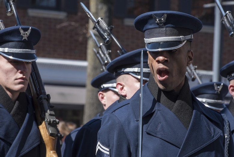 Senior Master Sgt. Robert Jones, U.S. Air Force Honor Guard operations superintendent, shouts a command during the 2017 Saint Patrick's Day Parade in Alexandria, Va., March 4, 2017. In order to precisely follow these commands, ceremonial guardsmen go through an eight-week training program that teaches drill, discipline and standards. (U.S. Air Force photo by Senior Airman Jordyn Fetter)