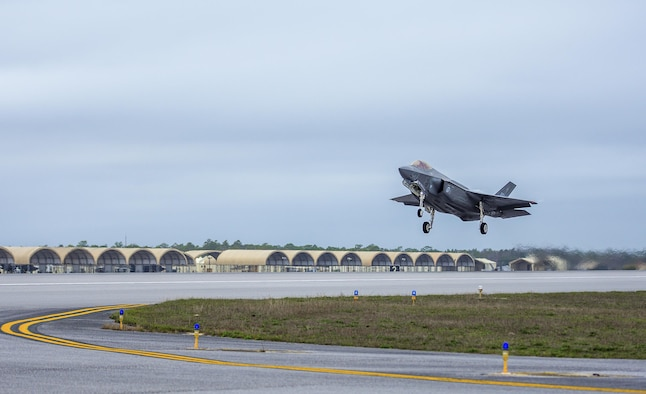A 33rd Fighter Wing F-35A takes off Feb. 27 to conduct sorties  over the 724 square miles of land ranges and 120,000 miles of over water airspace at Eglin Air Force Base, Fla. The F-35 is the world's most advanced multi-role fighter providing unmatched capabilities to military forces around the world. (U.S. Air Force photo/Kristin Stewart)