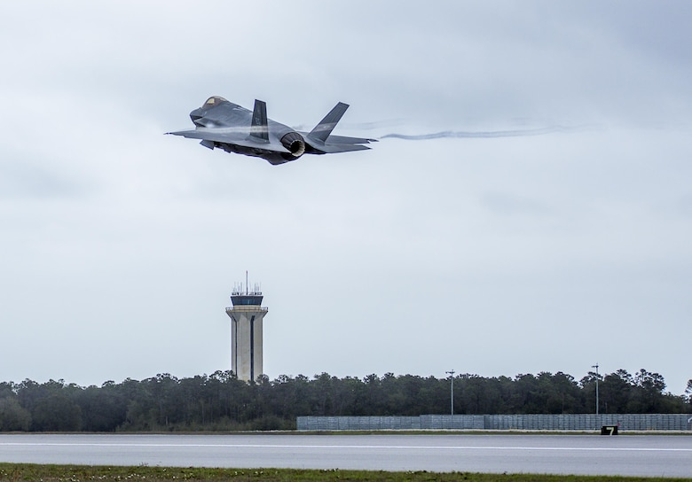 A 33rd Fighter Wing F-35A takes off Feb. 27 to conduct sorties at Eglin Air Force Base, Fla. With conventional takeoff and landing capability, the F-35A is built for traditional Air Force bases. The F-35A is an agile, versatile, high-performance, 9g capable multirole fighter that combines stealth, sensor fusion, and unprecedented situational awareness. The 33rd Fighter Wing is a graduate flying and maintenance training wing for the F-35 Lightning II. (U.S. Air Force photo/Kristin Stewart)