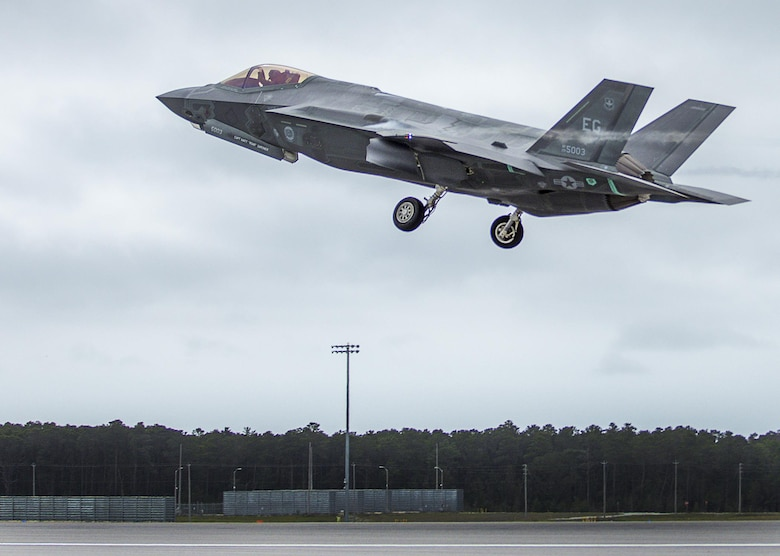 A 33rd Fighter Wing F-35A takes off Feb. 27 to conduct sorties at Eglin Air Force Base, Fla. The F-35's engine produces 43,000 lbs of thrust and is designed to provide the pilot with unsurpassed situational awareness, positive target identification and precision strike in all weather conditions. Mission systems integration and outstanding over-the-nose visibility features are designed to dramatically enhance pilot performance. (U.S. Air Force photo/Kristin Stewart)