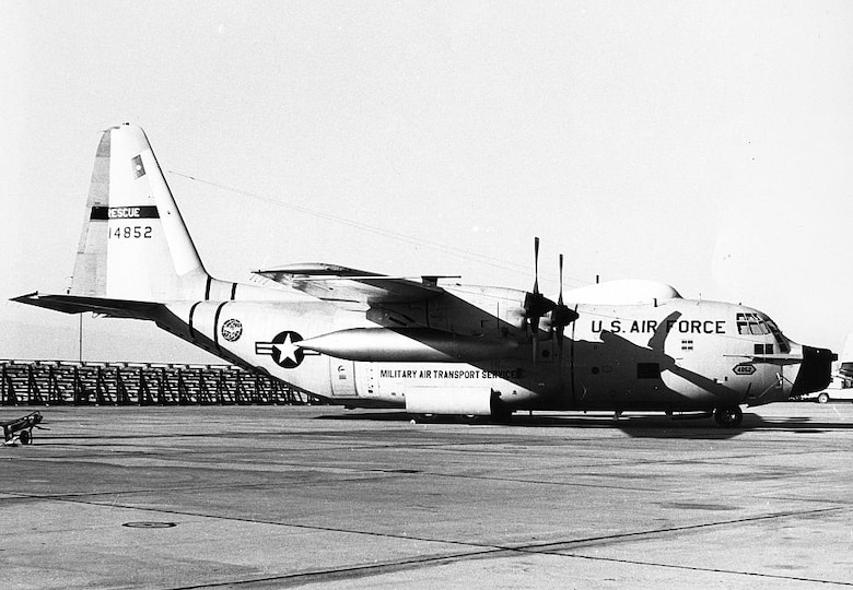 King 52, the first HC-130H configured for Air Force rescue rests on the Edwards Air Force Base, California, flightline in 1966. (Photo by Steve Kraus)