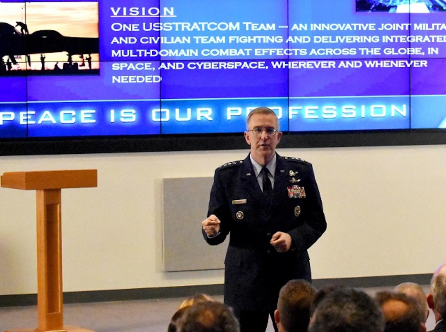 U.S. Strategic Command (USSTRATCOM) commander, U.S. Air Force Gen. John E. Hyten, addresses members of U.S. Transportation Command (USTRANSCOM), at Scott Air Force Base, Ill., March 6, 2017. Hyten was invited by USTRANSCOM commander, U.S. Air Force Gen. Darren W. McDew, as part of USTRANSCOM's 30-4-30 Distinguished Speaker Series.