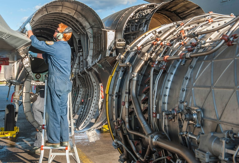 U.S. Air Force Staff Sgt. Donald Wallace, a 44th Aircraft Maintenance Unit maintainer, inspects the engine port of an F-15 Eagle during routine maintenance for an exercise, Feb. 14, 2017, on Kadena Air Base, Japan. Maintainers ensured the squadrons F-15 Eagles were ready to fly as part of the weeklong exercise alongside members of the U.S. Navy 27th and 102nd Strike Fighter Squadrons from Naval Air Station Atsugi, Japan. (U.S. Air Force photo by Senior Airman Nick Emerick/Released)
