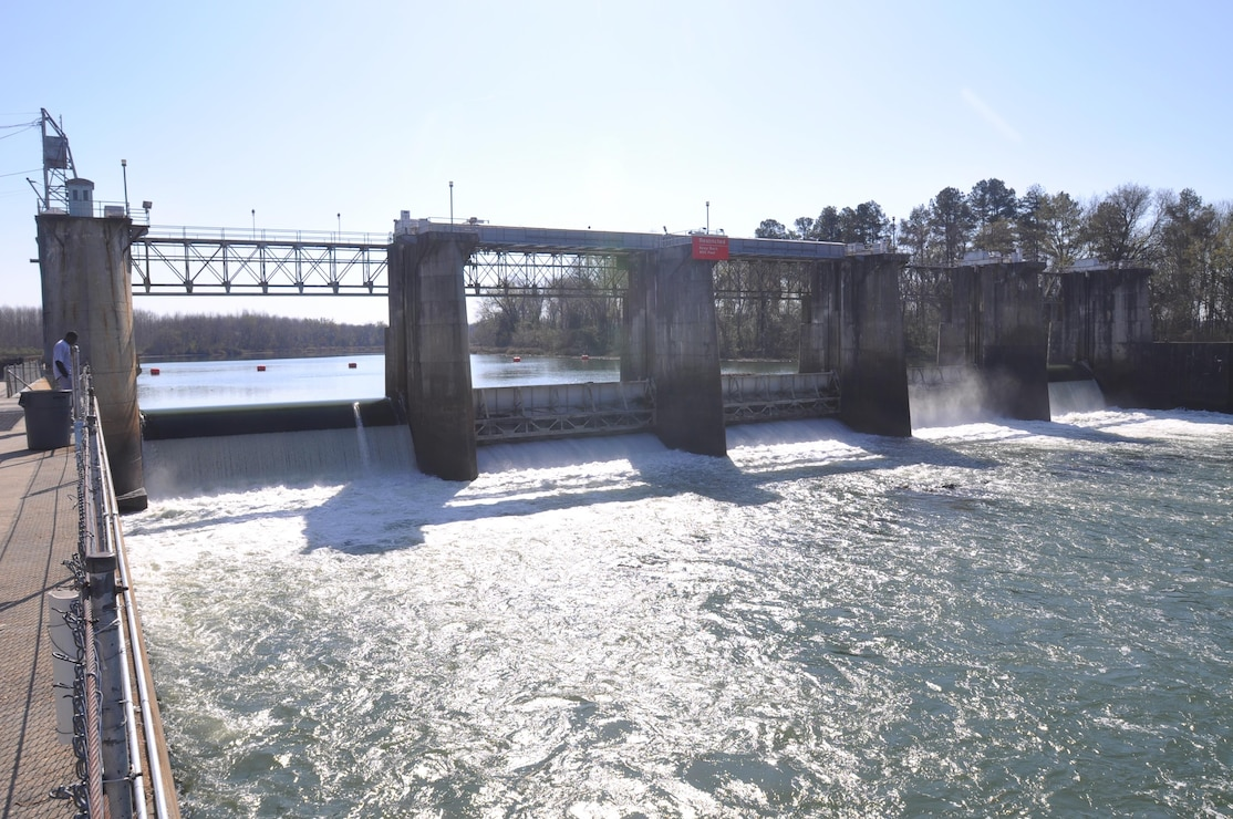 New Savannah Bluff Lock and Dam. When flows in the Savannah exceed 16,000 cubic feet per second, the gates of the structure are raised to create pulse flows, which scientists hypothesized would encourage fish passage through the structure.