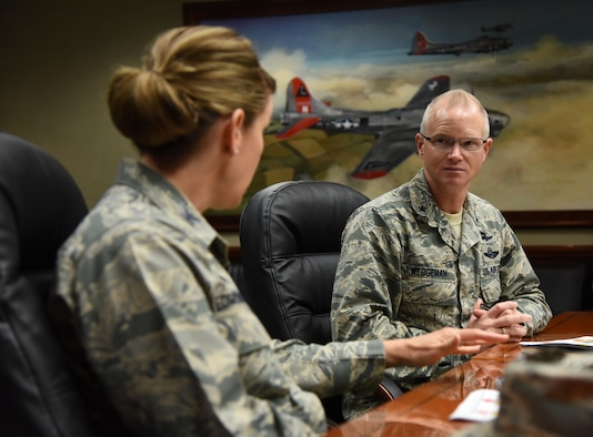 Col. Michele Edmondson, 81st Training Wing commander, speaks to Maj. Gen. Christopher Weggeman, 24th Air Force commander, Joint Base San Antonio-Lackland, Texas, during a 333rd Training Squadron site visit at Stennis Hall March 1, 2017, on Keesler Air Force Base, Miss. Weggeman visited with Airmen linked to the cyber curriculum and received an 85th Engineering Installation Squadron mission brief. (U.S. Air Force photo by Kemberly Groue)