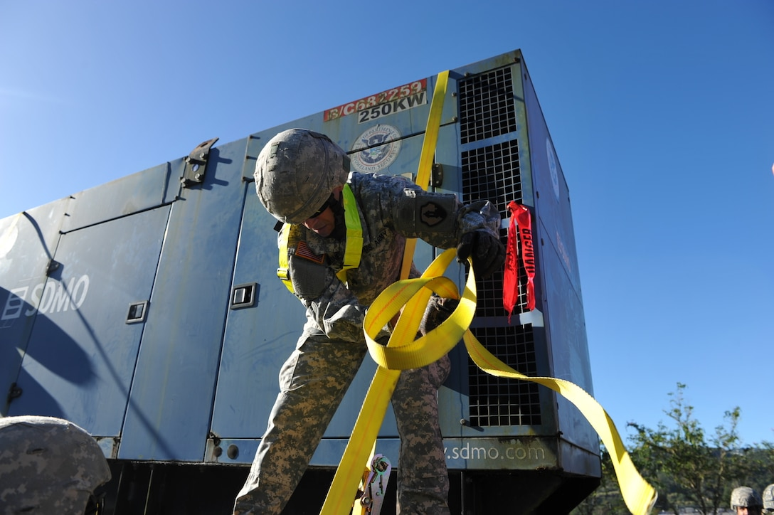 """U.S. Army Reserve Soldiers from the 432nd Transportation Company """"Tartaros,"""" assisted in moving more than 25 generators from the FEMA Distribution Center located in Caguas, Puerto Rico to Fort Buchanan for a Regional Power Mission Exercise (RPME) on March 5."""