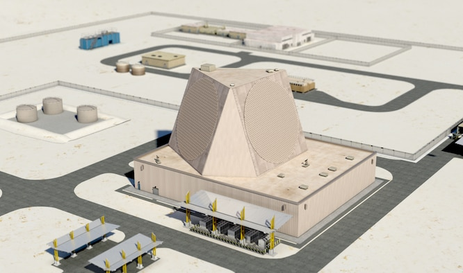 Artist's rendering of Qatar's finished $1.06 billion Early Warning Radar, which will allow the Qatari military to identify ballistic missile threats early. The Air Force Life Cycle Management Center at Hanscom Air Force Base, Mass., awarded the sole-source contract to Raytheon Corp. (Courtesy, Raytheon Corp.)
