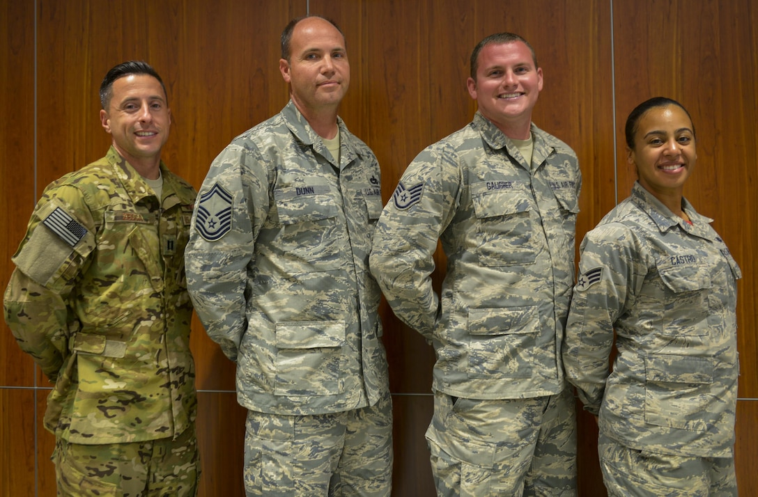 Congratulations to the following 919th Special Operations Wing's 1st Quarterly Award winners:  Capt. Michael Zecca, 859th SOS, Senior Master Sgt. Joseph Dunn, 919 SOCS, Staff Sgt. Josh Galigher, 919th SOAMXS, and Senior Airman Jashira Castro, 919th SOAMXS.  (U.S. Air Force photo/Tech. Sgt. Kimberly Moore)