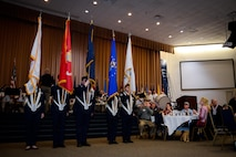 Air Force Junior Reserve Officer Training Corps cadets from Benton High School present the colors during the 38th Annual Veterans' Luncheon at Barksdale Air Force Base, La., March, 3, 2017. The cadets opened the ceremony with the presentation of colors bringing in each service's flags one at the time while the Shreveport Metropolitan Concert Band played the services' songs. (U.S. Air Force photo/Senior Airman Mozer O. Da Cunha)