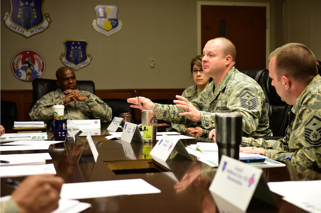 Members of the 118th Wing First Sergeants Council meet during March drill at Berry Field Air National Guard Base in Nashville, Tenn., March 4, 2017. The council meets once a month to disseminate information, identify trends, and serve as a focal point for the base Command Chief Master Sergeant. (USANG photo by Tech. Sgt. Darrell Hamm)