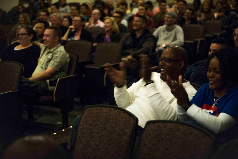 Air Commandos and their families attend a comedy show featuring Walter Campbell and Ben Bailey at the King Auditorium on Hurlburt Field, Fla., March 3, 2017. The 1st Special Operations Force Support Squadron, in conjunction with Air Forces Services Agency, hosted the free event to invest in the resiliency of the force and family. (U.S. Air Force photo by Airman 1st Class Isaac O. Guest IV)