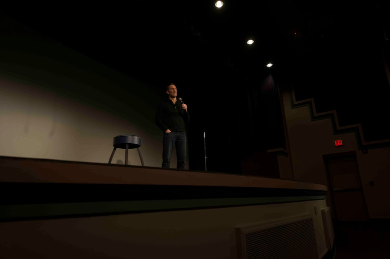 "Ben Bailey, comedian and television star of ""Cash Cab"", performs a comedy show at the King Auditorium on Hurlburt Field, Fla., March 3, 2017. The 1st Special Operations Force Support Squadron, in conjunction with Air Forces Services Agency, hosted the free event to invest in the resiliency of the force and family. (U.S. Air Force photo by Airman 1st Class Isaac O. Guest IV)"
