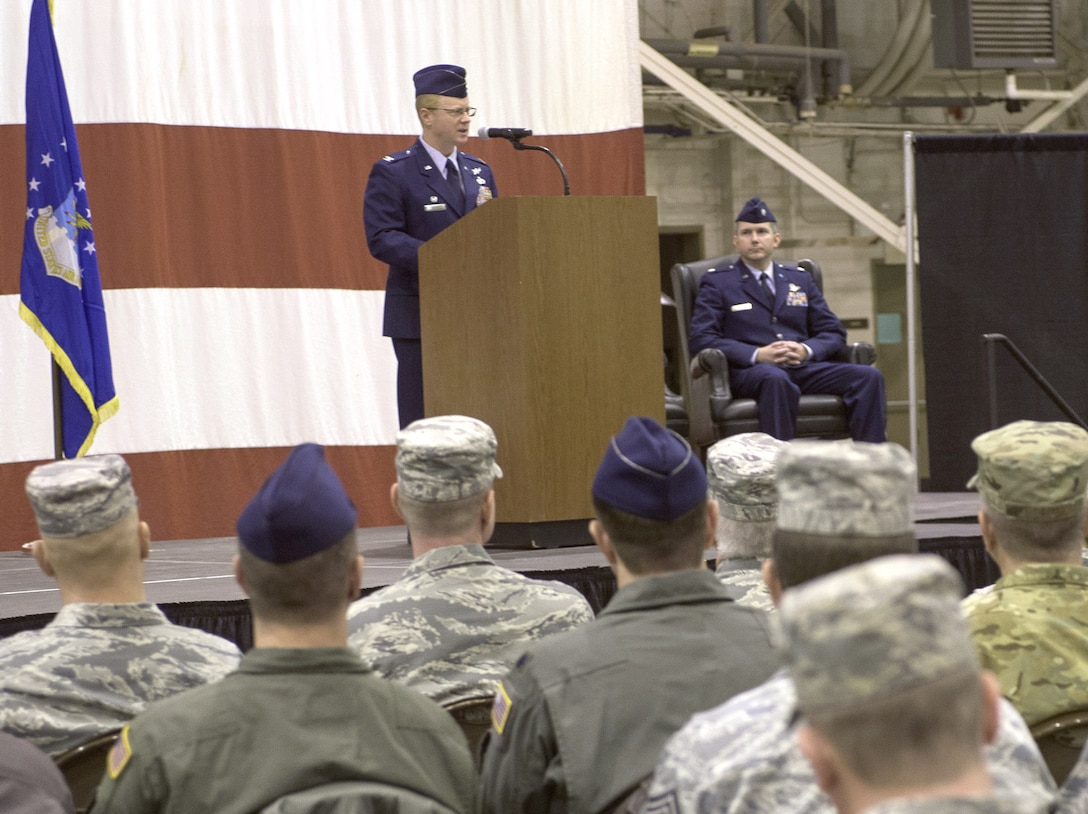 Col. Matthew Atkins, 361st Intelligence, Surveillance and Reconnaissance Group Commander, Hurlburt Field, Florida, speaks to attendees during an assumption of command ceremony hosted by the 137th Special Operations Wing, March 6, 2017, at Will Rogers Air National Guard Base, Oklahoma City. Lt. Col. Stephen McFadden took command of the 306th Intelligence Squadron, formerly located at Beale Air Force Base, California, upon its activation at WRANGB. (U.S. Air National Guard photo by Staff Sgt. Kasey Phipps)
