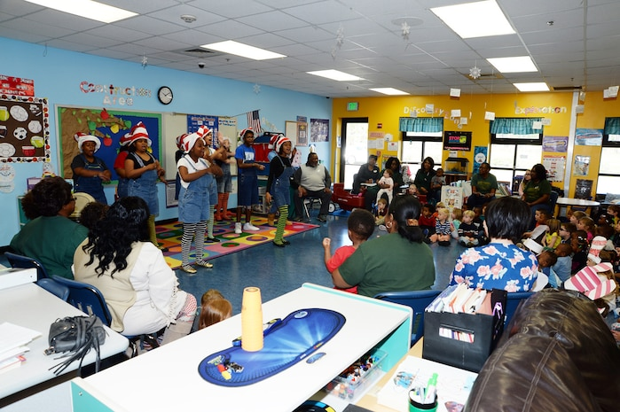 Radium Springs Middle Magnet School students perform skits in recognition of Read Across America for Marine Corps Logistics Base Albany's Child Development Center children, March 3.