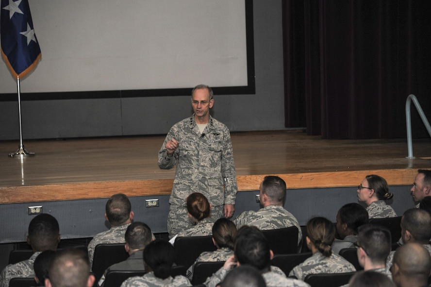 Lt. Gen. Mark Ediger, Surgeon General of the Air Force, held an all-call with Kirtland medics at the Base Theater, March 2. Ediger answered questions and provided insight on the progression of the career field.