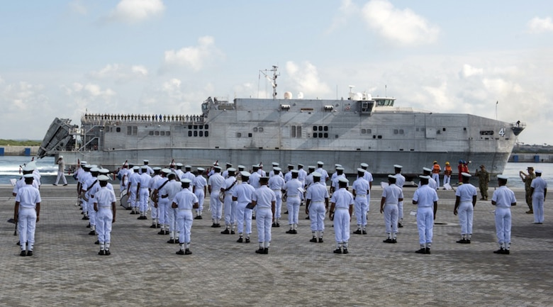 The Sri Lanka Navy Band performs as the expeditionary fast transport ship USNS Fall River (T-EPF-4) arrives in Hambantota to participate in Pacific Partnership 2017 mission stop Sri Lanka, Mar. 7, 2017.   Pacific Partnership is the largest annual multilateral humanitarian assistance and disaster relief preparedness mission conducted in the Indo-Asia-Pacific and aims to enhance regional coordination in areas such as medical readiness and preparedness for manmade and natural disasters.