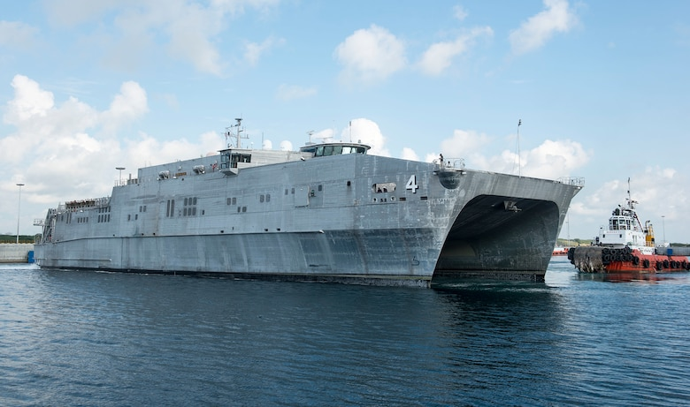 The expeditionary fast transport ship USNS Fall River (T-EPF-4) arrives in Hambantota to participate in Pacific Partnership 2017 mission stop Sri Lanka March 7. Pacific Partnership is the largest annual multilateral humanitarian assistance and disaster relief preparedness mission conducted in the Indo-Asia-Pacific and aims to enhance regional coordination in areas such as medical readiness and preparedness for manmade and natural disasters.