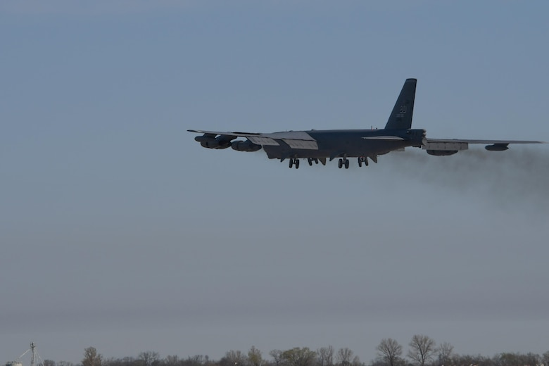 A B-52 Stratofortress with U.S. Air Force Lt. Col. Steve Smith, 93rd Bomb Squadron flight instructor, on board takes to the sky on a mission that gave him more than 10,000 hours in the jet.   No one else currently serving in the Air Force has more flight hours in the jet. (U.S. Air Force photo by Tech. Sgt. Ted Daigle/Released)