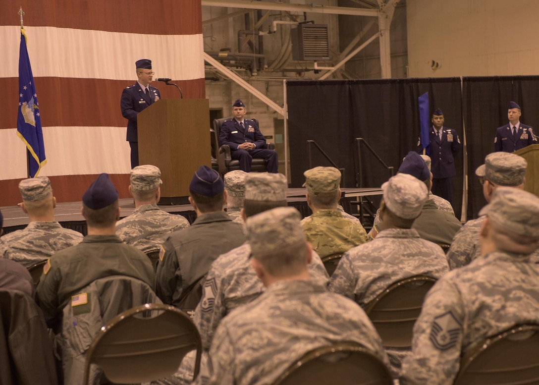 Col. Matthew Atkins, 361st Intelligence, Surveillance and Reconnaissance Group Commander, Hurlburt Field, Fla., speaks to attendees during an assumption of command ceremony hosted by the 137th Special Operations Wing, March 6, 2017, at Will Rogers Air National Guard Base, Oklahoma City. Lt. Col. Stephen McFadden took command of the 306th Intelligence Squadron, formerly located at Beale Air Force Base, Calif., upon its activation at WRANGB. (U.S. Air National Guard photo by Staff Sgt. Kasey Phipps)