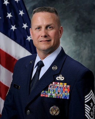 Chief Master Sgt. Jason Tiek, 50th Space Wing command chief, looks forward to utilizing his past experiences and mentorships to help forge a positive relationship with Team 5-0 in his new role at Schriever. (Courtesy photo)