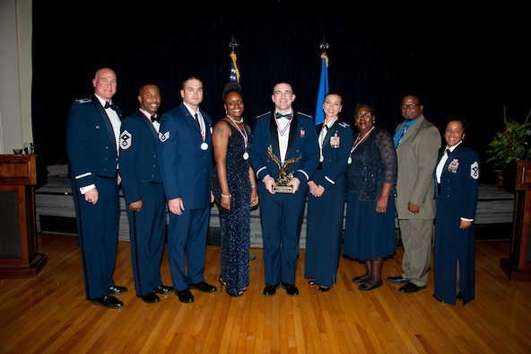 Col. Barry Dickey, vice commander, 42d Air Base Wing, serves as the host and the guest speaker at the 2016 Team Maxwell-Gunter Annual Awards Banquet, Mar. 3, 2017.  (US Air Force photo by Melanie Rodgers Cox/Released)