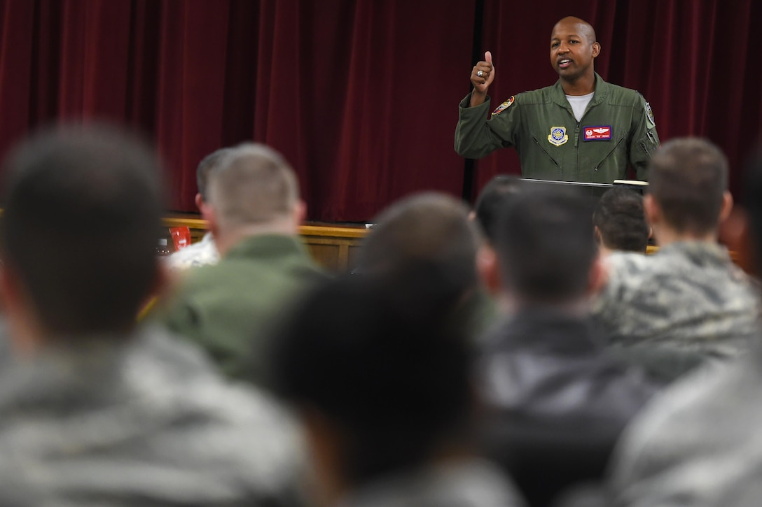 Lt. Col. Jaron Roux, 62nd Operations Support Squadron commander, speaks during the lunch and leadership series March 3, 2017 at the McChord chapel support center, Joint Base Lewis-McChord, Wash. Roux talked about the importance of leading in your own skin. (U.S. Air Force photo / Tech. Sgt. Tim Chacon)