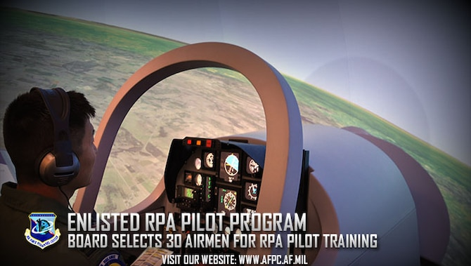 A student pilot enrolled in Undergraduate Remotely Piloted Aircraft Training at the 558th Flying Training Squadron, Joint Base San Antonio-Randolph, Texas, takes off in a new T-6 Texan II simulator. The inaugural enlisted remotely piloted aircraft pilot selection board has selected 30 enlisted Airmen for RPA pilot training, joining the 12 Airmen in the Enlisted Pilot Initial Class. (U.S. Air Force photo by Staff Sgt. Clinton Atkins)