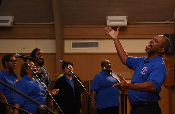 The Keesler Choir performs during the African-American Heritage Committee's Gospel Concert at the Larcher Chapel March 4, 2017, on Keesler Air Force Base, Miss. The event was held to celebrate African American History Month. (U. S. Air Force photo by Kemberly Groue)